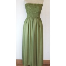 Strapless long cotton dress
